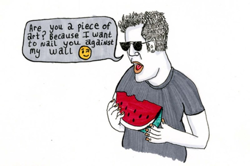 Cartoon - Are you a piece of art? Because I want to wail you against my wali