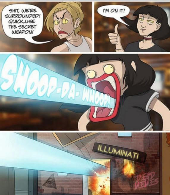 Cartoon - rM ON IT! SHIT, WERE SURROUNDED! QUICK,uSE THE SECRET WEAPON! SHOODD OP-DA-MNOORM ILLUMINATI ED