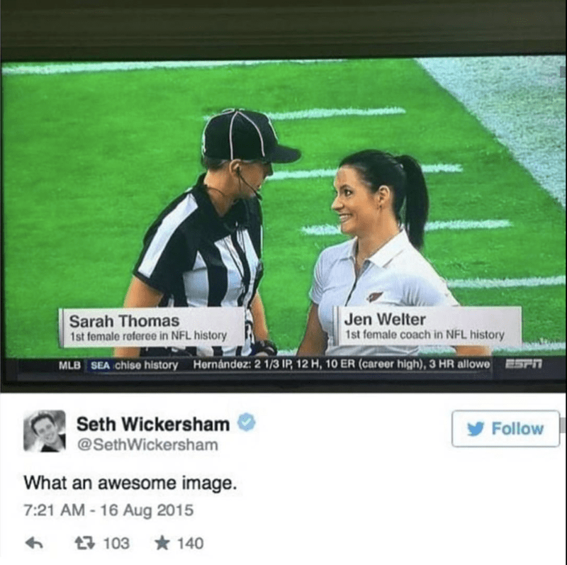 Tweet of the first woman referee in NFL history and Jen Weller the first female coach in NFL history.