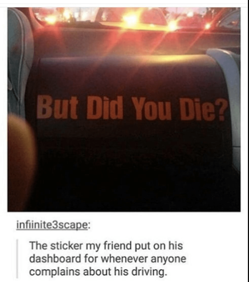 But Did You Die? sticker friend has on dashboard whenever anyone complains about his driving.