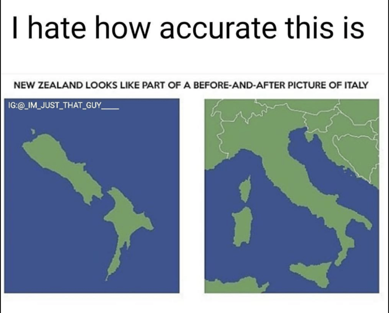 funny map detail that New Zealand looks like Italy after flooding and sea level rises.