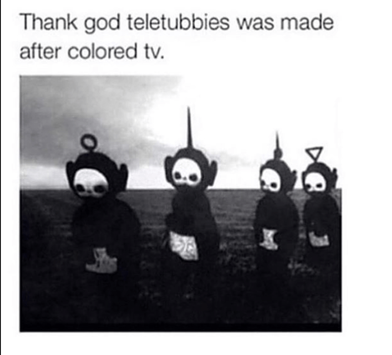 Creepiest photo ever of Teletubbies in black and white