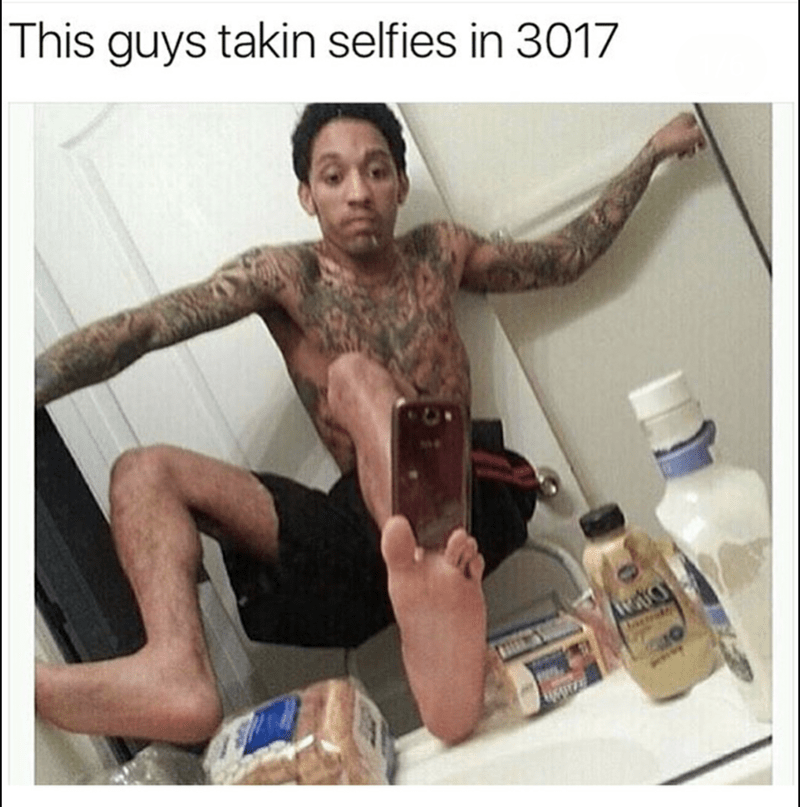 Meme of man taking selfie 3017 style