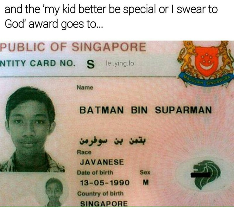 Funny meme about a man named batman superman.