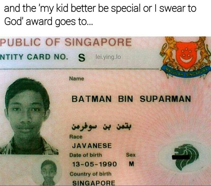 Funny meme about a man named batman superman.