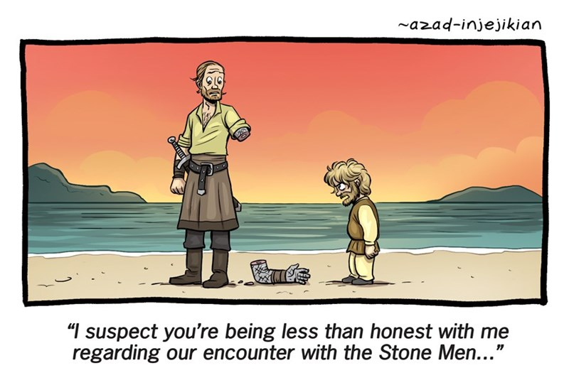 Doonesbury style webcomic of Game Of Thrones characters having moment on the beach.