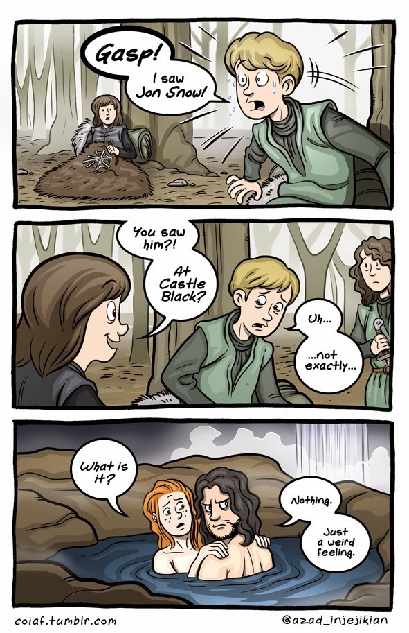 Game of Thrones webcomic of Jon Snow suspecting something is watching while Brandon's squad has visions.