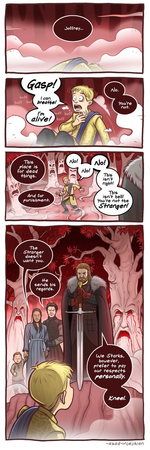 Game of Thrones webcomic of Geoffrey kneeling before Ned Stark in the afterlife.