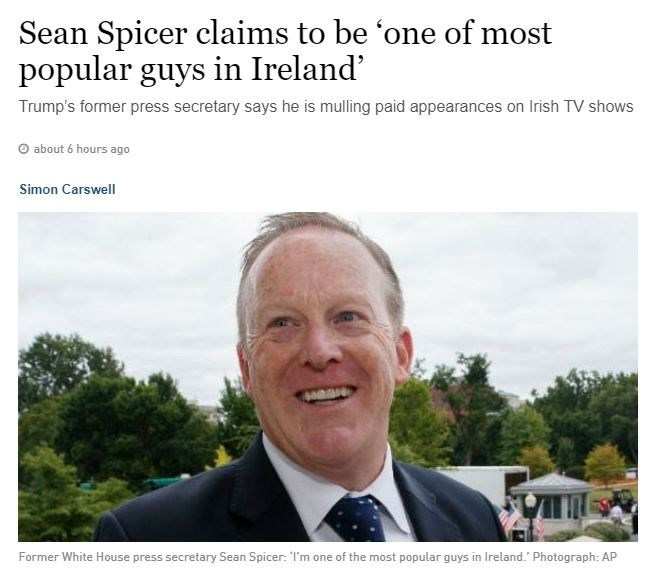 Seam Spicer claims to be most popular man in Ireland - headline