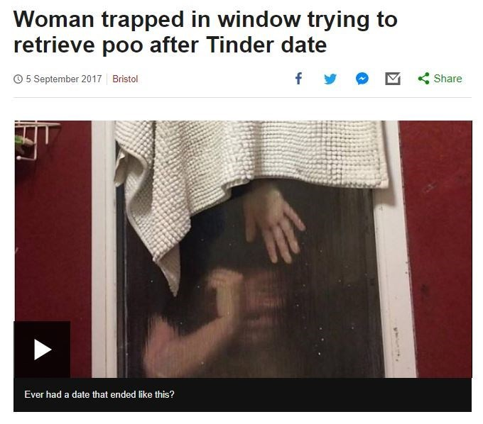 funny headline of woman trapped in window trying to retrieve poo after Tinder date