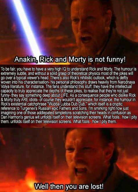 Funny Star Wars prequel meme about rick and morty.