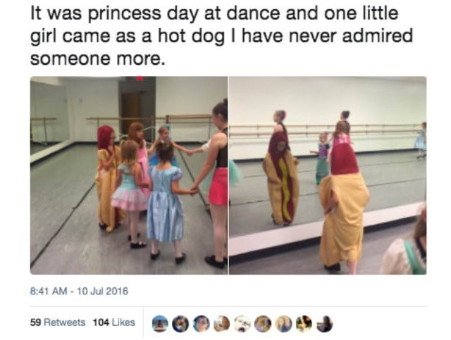 Text - It was princess day at dance and one little girl came as a hot dog I have never admired someone more. 8:41 AM- 10 Jul 2016 59 Retweets 104 Likes