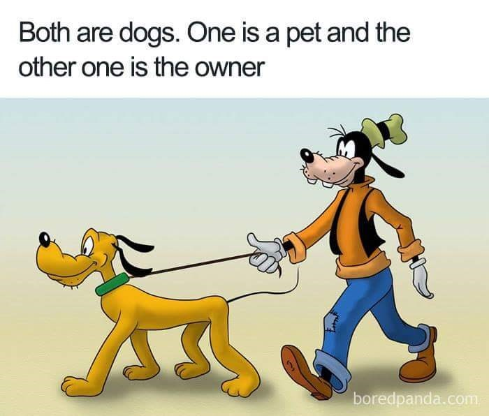 Cartoon - Both are dogs. One is a pet and the other one is the owner boredpanda.com