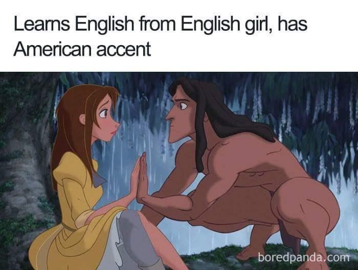 Cartoon - Leams English from English girl, has American accent boredpanda.com