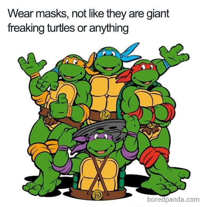 Fictional character - Wear masks, not like they are giant freaking turtles or anything boredpanda.com