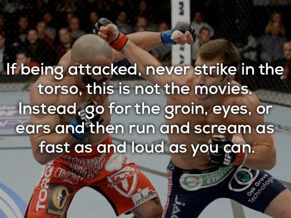 Combat sport - Ifi being attacked, never strike in the torso, this is not the movies. Instead go for the groin, eyes, ears and then run and scream as fast as and loud as you can. TIRA AM ETH CENTRA Head TOR JAC Oak Grove