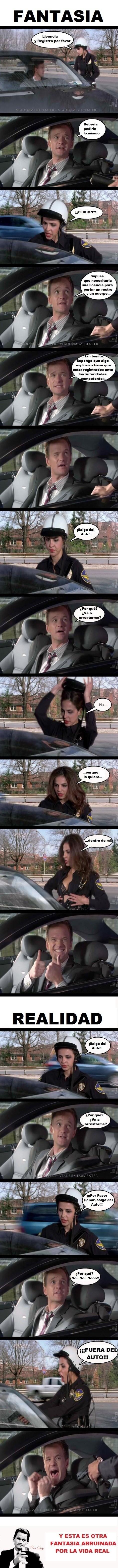 expectativa vs realidad cuando te detiene un oficial de policia mujer