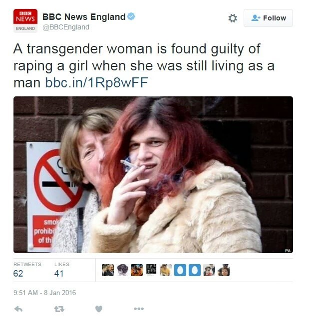 Text - NEWS BBC News England ENGLAND @BBCEngland Follow A transgender woman is found guilty of raping a girl when she was still living as a man bbc.in/1Rp8wFF smok prohibi of th PA RETWEETS LIKES 62 41 9:51 AM - 8 Jan 2016