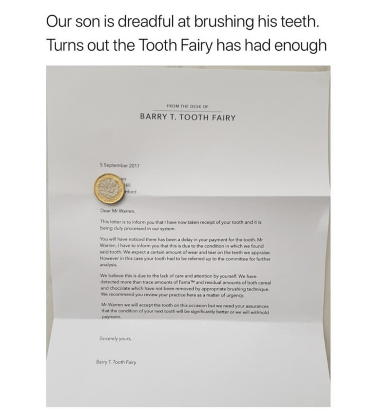 Funny meme of letter parents wrote to kid from the tooth fairy.