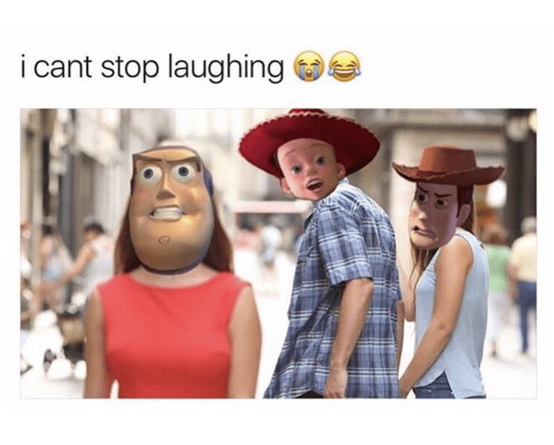 Funny meme of the toy story version of Distracted Boyfriend meme.