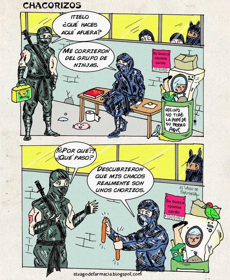 vineta sobre ninja que le quitaron el puesto por llevar chorizos