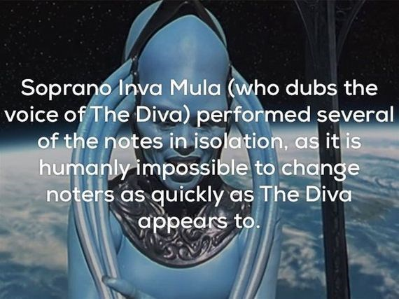 Water - Soprano Inva Mula (who dubs the voice of The Diva) performed several of the notes in isolation, humanly impossible to change noters as quickly as The Diva appears to.
