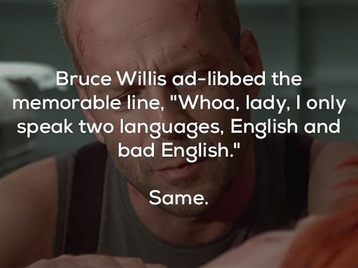 """Skin - Bruce Willis ad-libbed the memorable line, """"Whoa, lady, I only speak two languages, English and bad English."""" Same."""