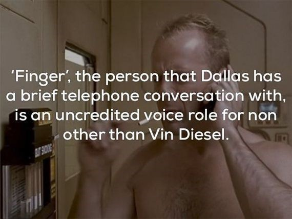 Facial expression - Finger', the person that Dallas has a brief telephone conversation with, is an uncredited voice role for non other than Vin Diesel.