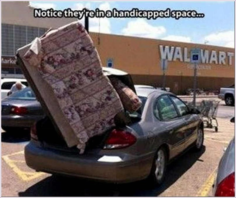 Vehicle - Notice they reinahandicappedspace. WAL MART ke