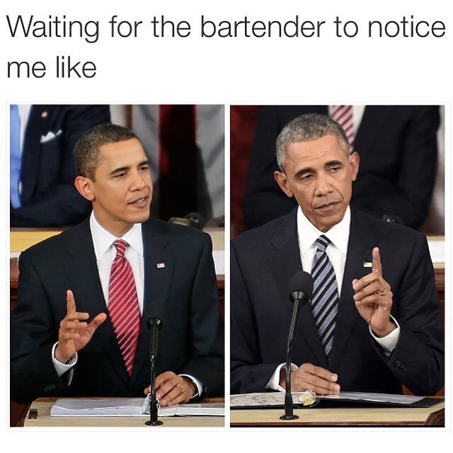 Funny meme about waiting for the attention of your bartender.