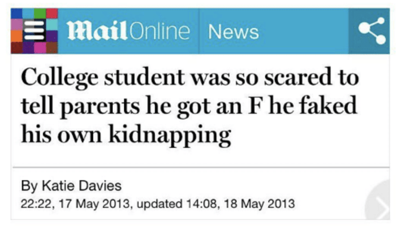 funny headline - Text - mailOnline News College student was so scared to tell parents he got an F he faked his own kidnapping By Katie Davies 22:22, 17 May 2013, updated 14:08, 18 May 2013
