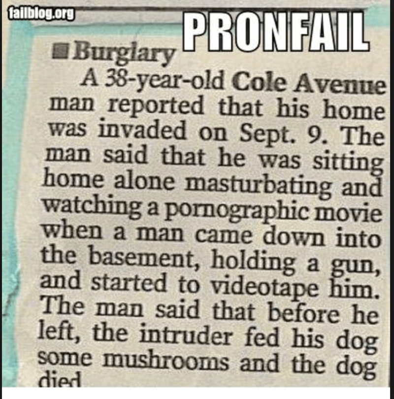 funny headline - Text - failblog.org Burglary PRONFAIL A 38-year-old Cole Avenue man reported that his home was invaded on Sept. 9. The man said that he was sitting home alone masturbating and watching a pornographic movie when a man came down into the basement, holding a gun, and started to videotape him. The man said that before he left, the intruder fed his dog some mushrooms and the dog died