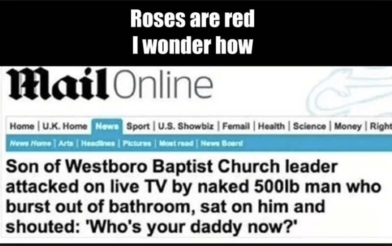 funny headline - Text - Roses are red I wonder how Mail Online Home U.K. Home News Sport U.S. Showbiz Femail | Health Science Money | Right News Home Arts Headines Pictures Most read News Board Son of Westboro Baptist Church leader attacked on live TV by naked 500lb man who burst out of bathroom, sat on him and shouted: 'Who's your daddy now?