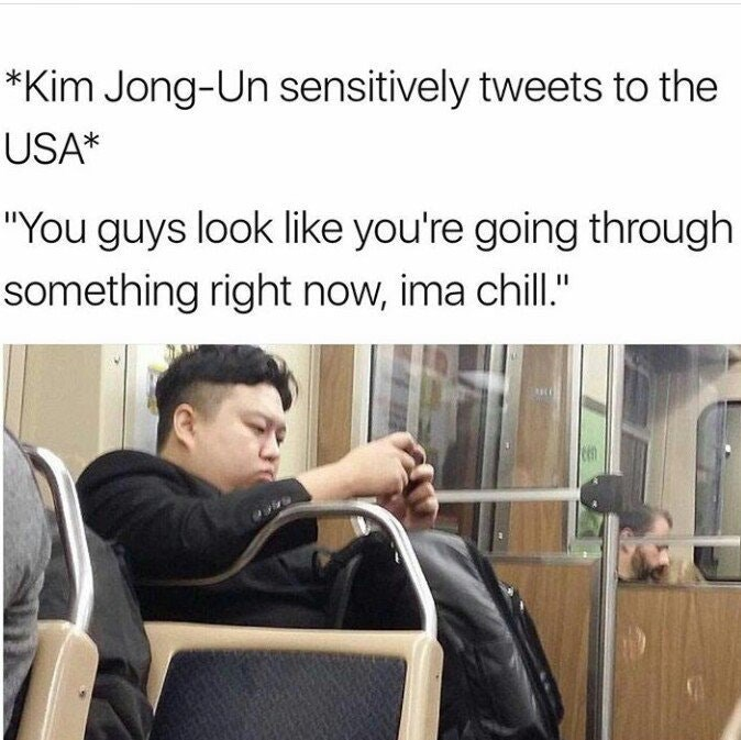 funny dank meme of Korean man on the subway on his phone that looks like Kim Jong-Un with caption that he is tweeting sensitively to the USA.