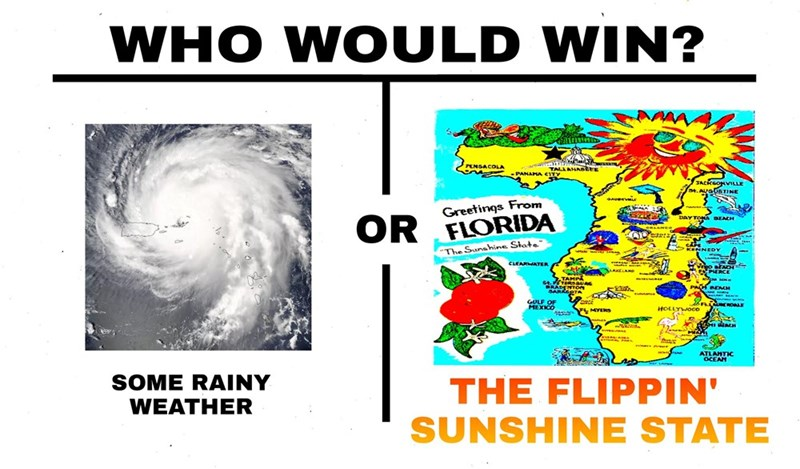 Dank meme of WHO WOULD WIN, some rainy weather or the sunshine state.