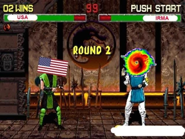 Dank meme of Mortal Kombat scene of USA VS IRMA