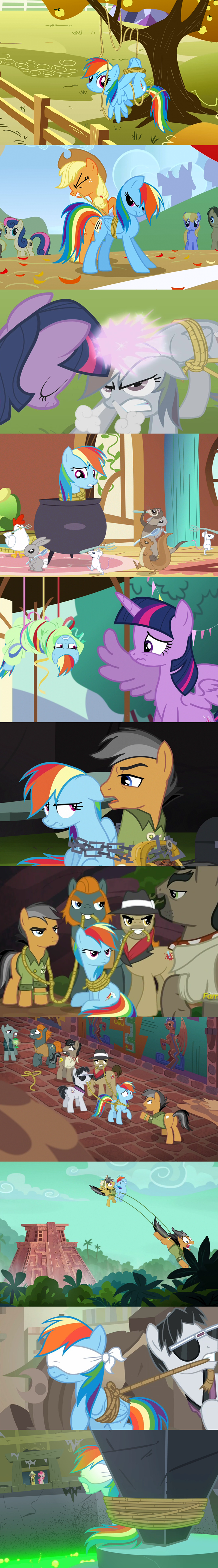 screencap rainbow dash magical mystery cure fall weather friends party pooped stranger than fan fiction the return of harmony daring done - 9073655296