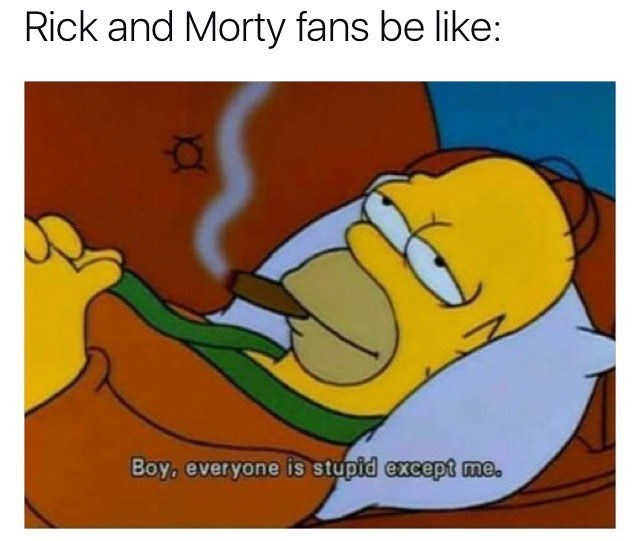 Funny meme about Rick and Morty fans, picture of Homer Simpson saying everyone is stupid besides him.