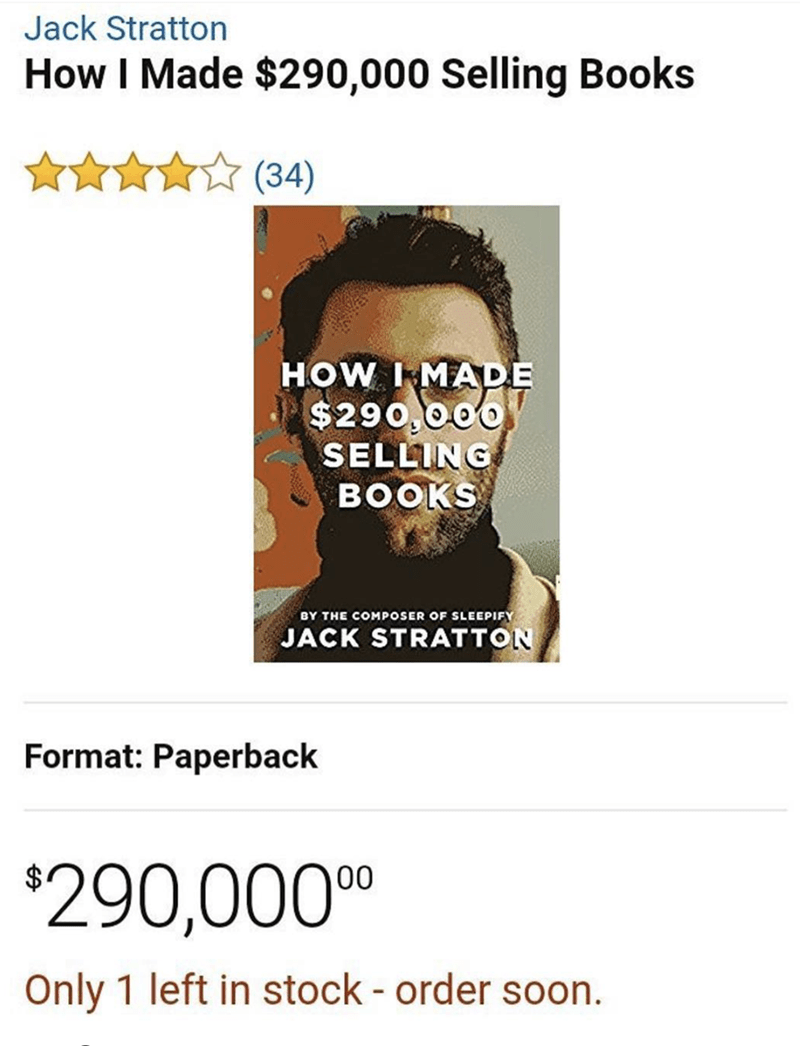 funny meme of some guy who made a fortune selling an overpriced book