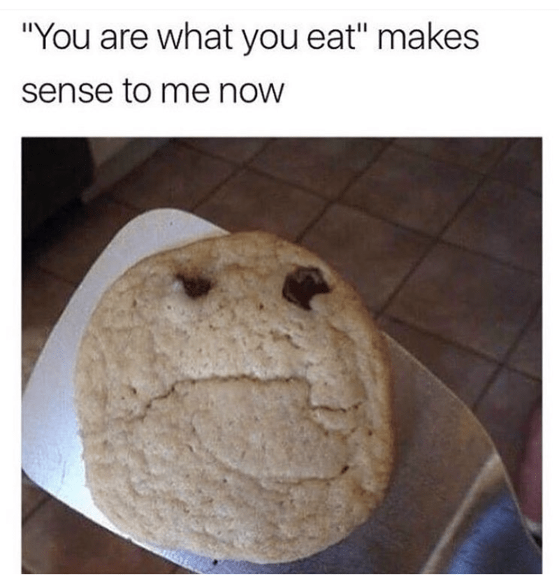 Funny meme of a grumpy looking cookie.