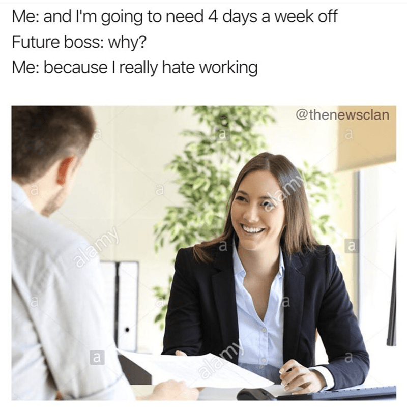 Funny job interview meme
