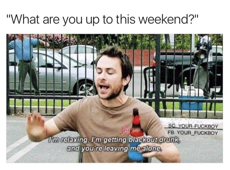Funny meme about weekend plans of Charlie from Always Sunny in Philadelphia of relaxing, getting blackout drunk and being left alone.