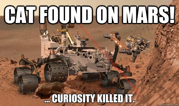 Motor vehicle - CAT FOUND ON MARS! CURIOSITY KILLED IT quickmeme.com