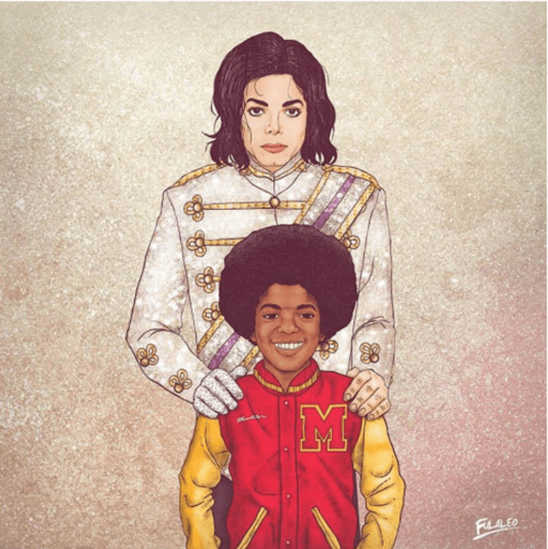 Portrait of Michael Jackson with his younger self.