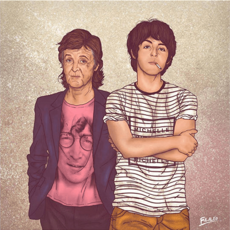 Paul McCartney portrait of the singer as his younger self, and currently.