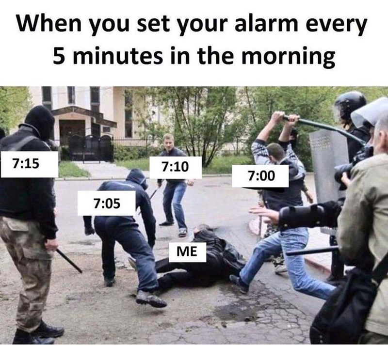 Funny meme about waking up.