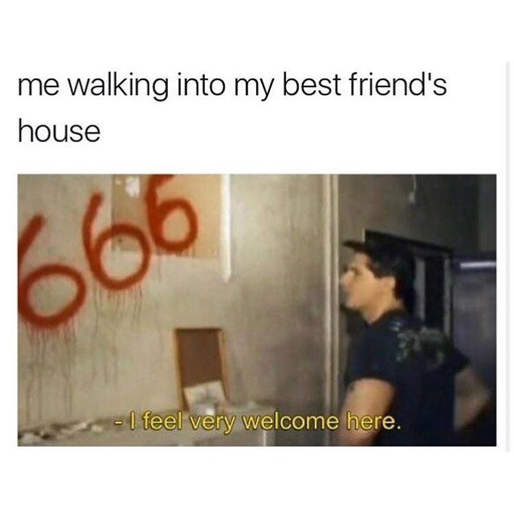 Funny meme about feeling at home with the number 666 satan blah blah.