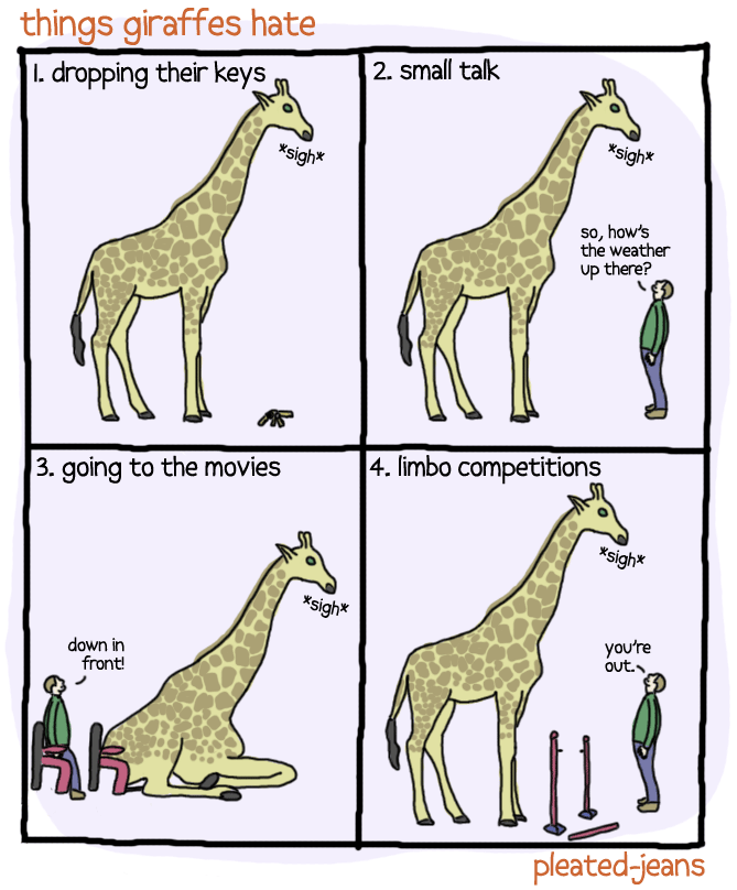 funny webcomic of things that giraffes hate