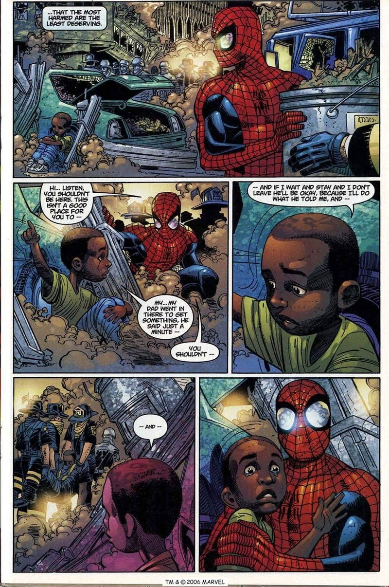 Comics - THAT THE MOST HARMED ARE THE LEAST DESERVING NYPD -AND IF I WAIT AND STAY AND I DON'T LEAVE HELL BE OKAY, BECAUSE ILL DO WHAT HE TOLD ME, AND - H... LISTEN, YOu SHOULDN'T BE HERE. THIS ISN'T A GOOD PLACE FOR YOU TO- MY... MY DAD WENT IN THERE TO GET SOMETHING, HE SAID JUST A MINUTE 4Ou SHOULDNT AND TM & O2006 MARVEL