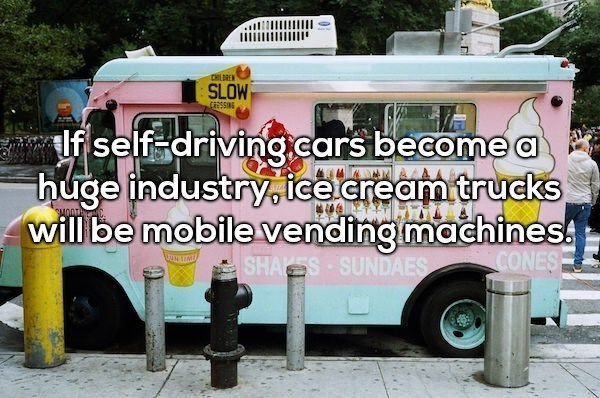 Motor vehicle - CHLDREN SLOW TRSSING lfself-driving.cars become a huge industry,ice eream trucks will be mobile vending machines SHAES SUNDAES SMOD CONES